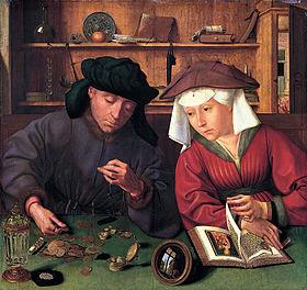 """""""Le prêteur et sa femme"""", Quentin Metsys, 1514. Musée du Louvre."""