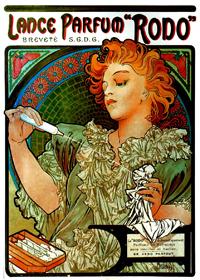 """Lance-parfum -Rodo"", Affiche d'Alphonse Mucha - 1898 -"
