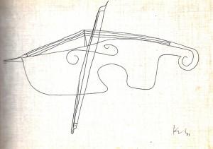 Violon et archet, Paul Klee, 1939 (Privatbesitz Schweiz, Depositum im Zentrum Paul Klee, Berne, ADAGP)