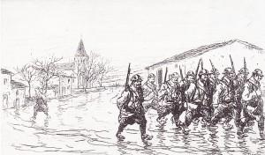 Sur le front. Départ pour les tranchées, 1915. Illustration de Raymond Renefer.